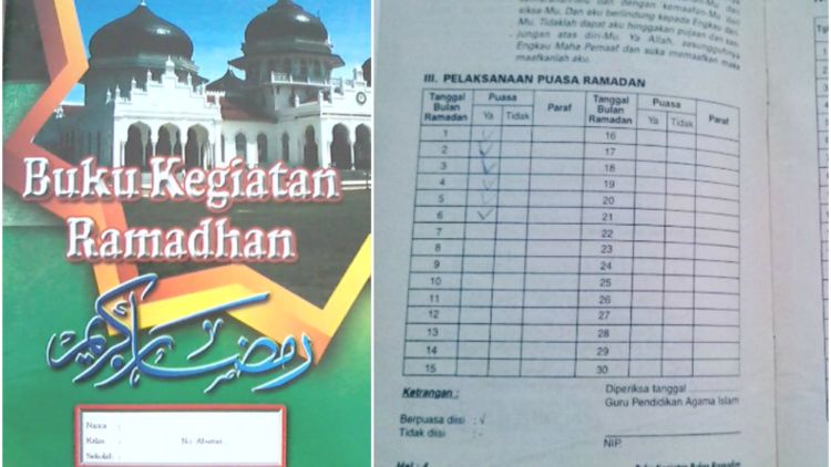 Ngisi buku kegiatan Ramadan