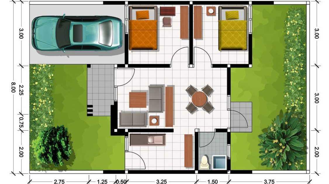 denah rumah type 36 1 lantai 3 kamar tidur