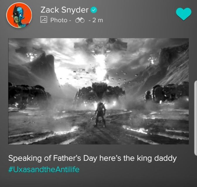 VERO: Zack Snyder reveals Uxas (Young Darkseid) using the anti