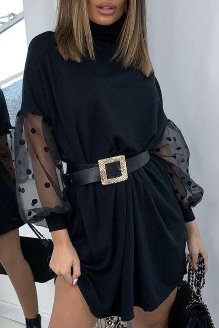 Gaun hitam dengan belt