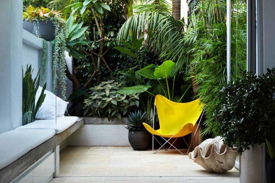 Desain ruang santai outdoor berkonsep rimba banyak tanaman, karya Think Outside Gardens