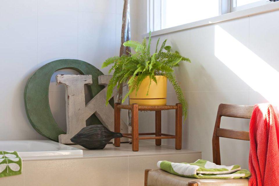 Interior rumah dengan tanaman hijau di dekat jendela, karya Natalie Jeffcott