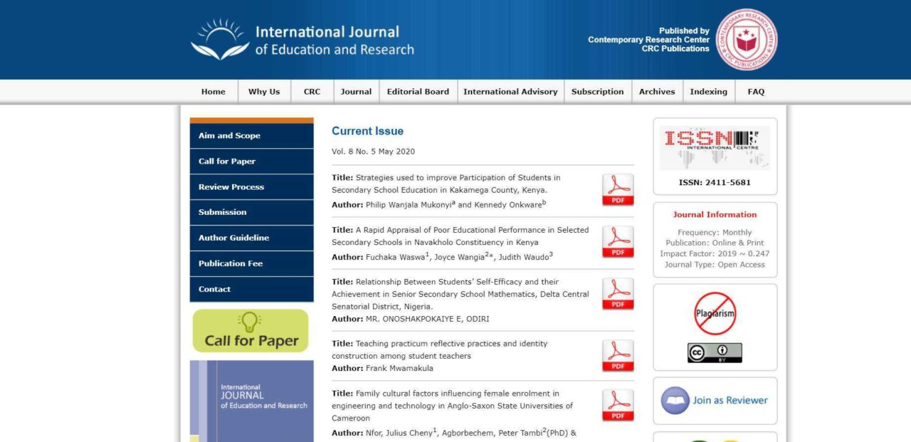 International Journal Of Education and Research