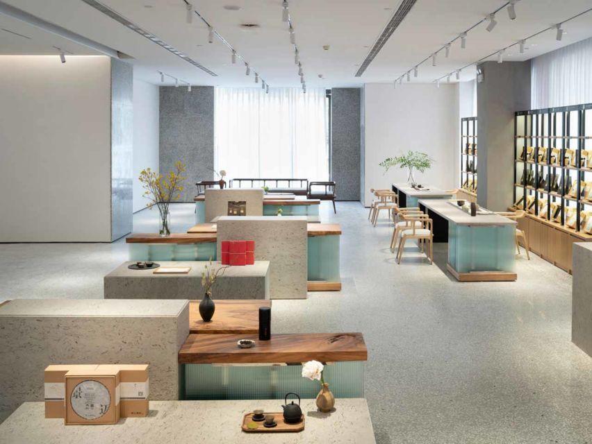Desain interior tempat minum teh karya Koo Architects