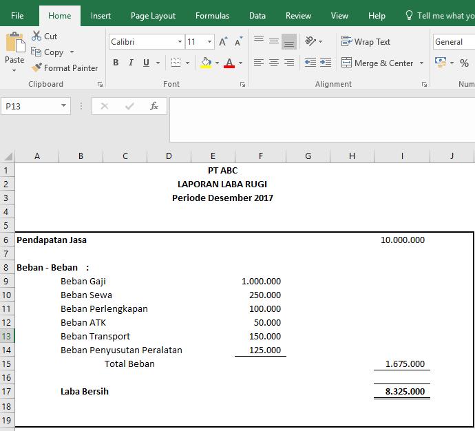 membuat laporan keuangan sederhana