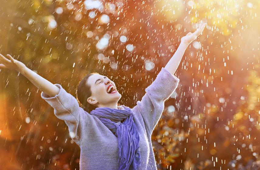 Girl enjoy in rain