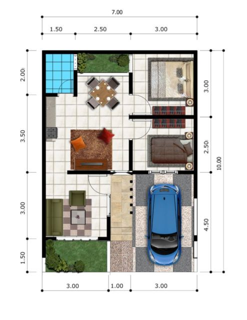 6 Desain Rumah Type 45 Untuk Lajang Atau Yang Sudah Punya Anak Pakai Kolam Renang Juga Bisa