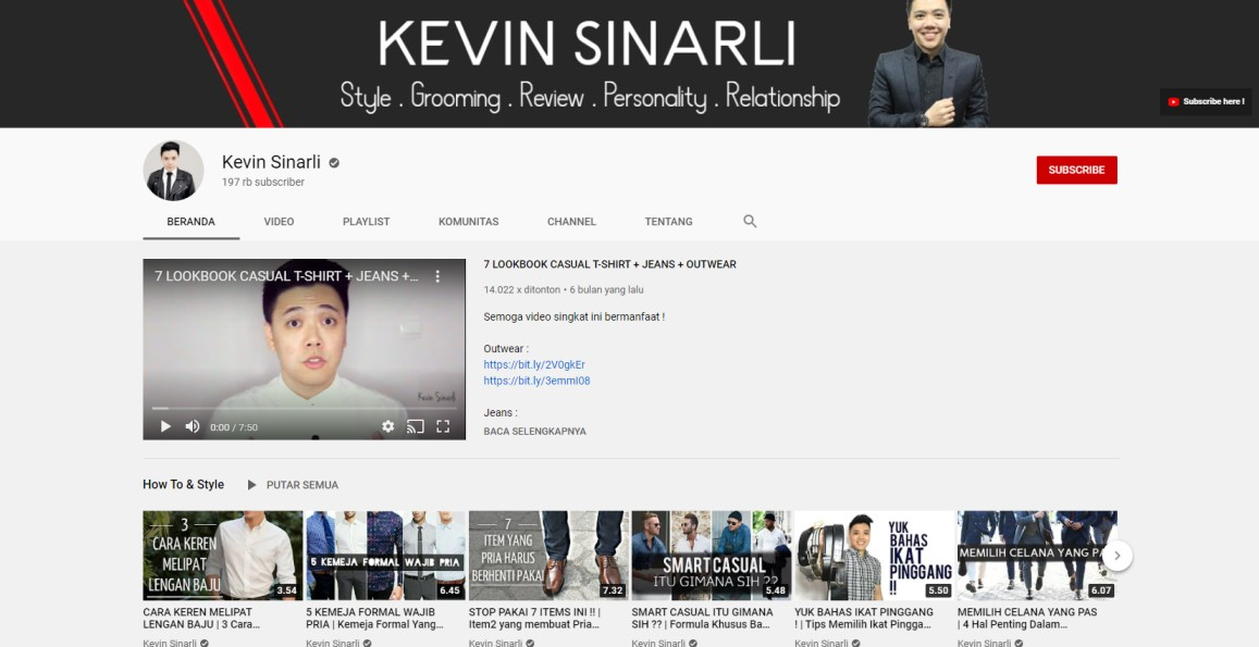 Kanal youtube Kevin Sinarli