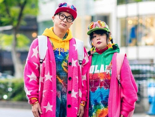 Harajuku Guys in Colorful Layered Vintage Streetwear Styles