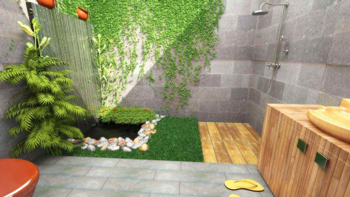 Kamar mandi industrial semi terbuka di hunian Semi Rustic House in Cimahi oleh Triasteri Interior and Design,