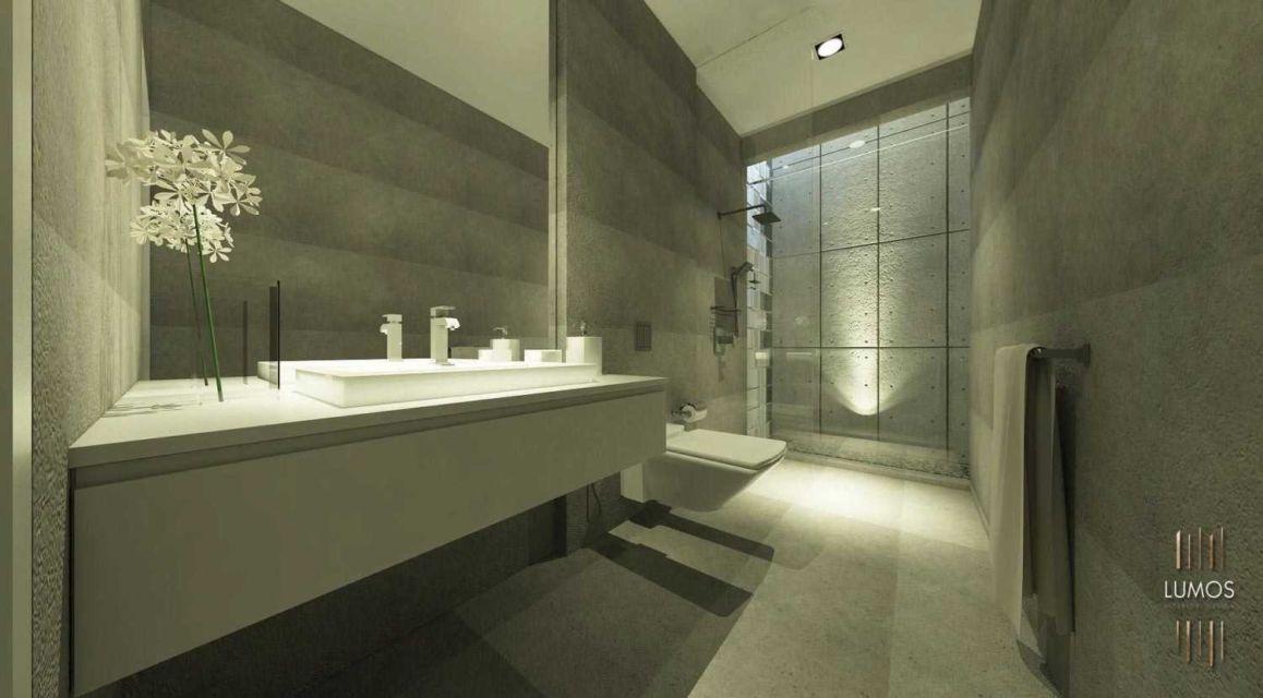 Kamar mandi industrial yang mewah di hunian Pakuwon Indah oleh Lumos Interior Design,