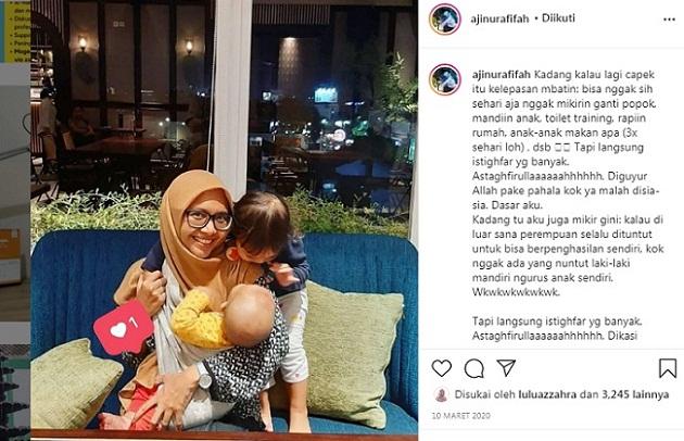 Aji Nur Afifah bersama anak-anaknya | Photo by Instagram @ajinurafifah