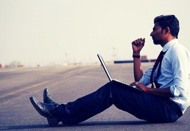 Man Work Think Laptop