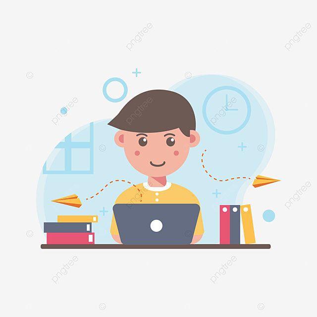 gambar vektor seorang anak sedang berada di depan monitor laptop.