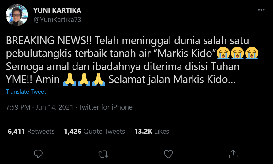 cuitan twitter yang di sampaikan oleh mantan humas PBSI, Yuni Kartika