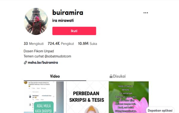 Screen shot akun tiktok @buiramira