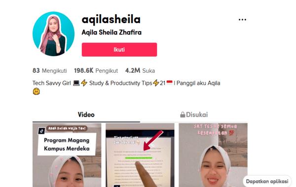 Screen shot akun tiktok @Aqilasheila